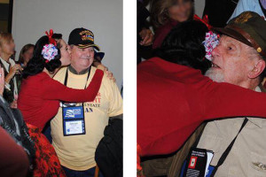 Hugs and Kisses to our WWII and Korean War Veterans at Honor Flight at CVG Airport.